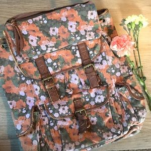 Urban Outfitters Floral Canvas Rucksack Backpack